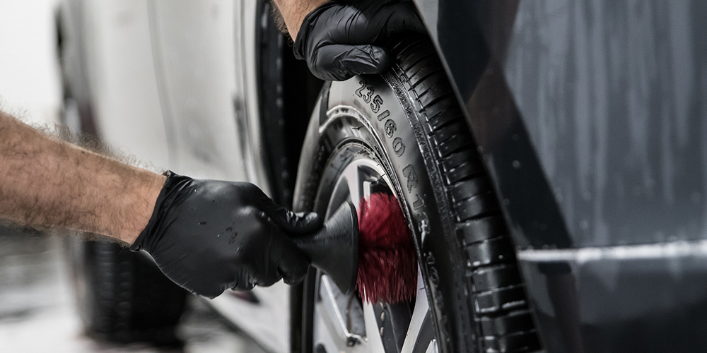 Apply wheel and tire cleaner