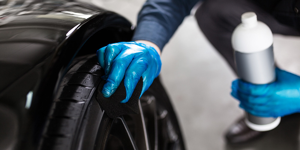 Use tire shine, vinyl and plastic renew